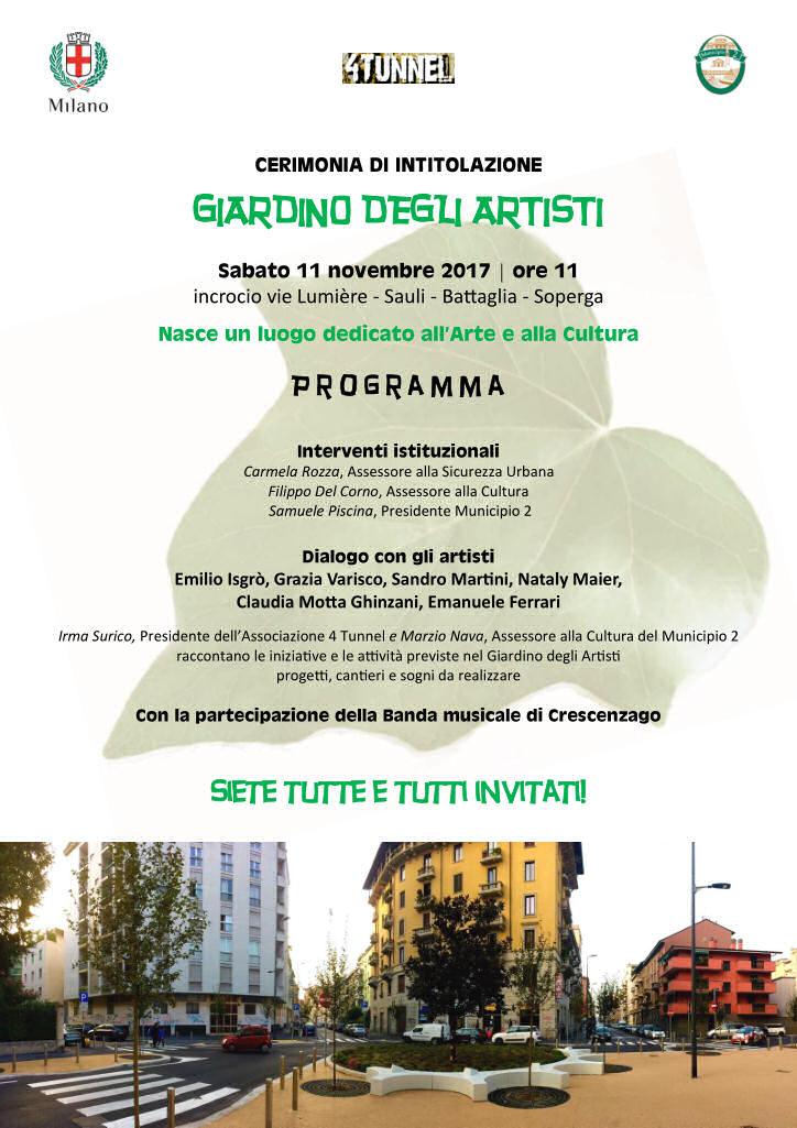 Si inaugura il 39 giardino degli artisti 39 associazione 4tunnel - Il giardino degli artisti ...